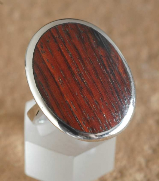 Silber Ring mit Holz