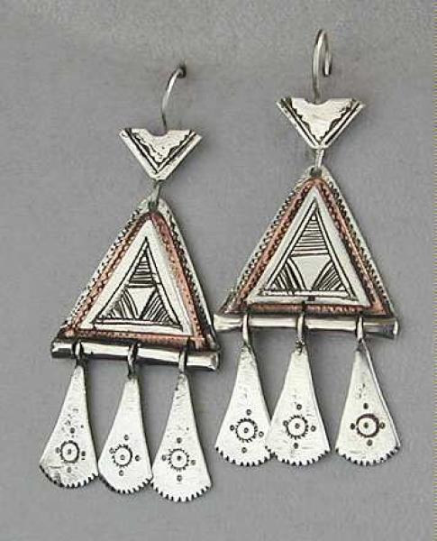 Tuareg Silber Ohr Hänger mit Kupfer Einlage